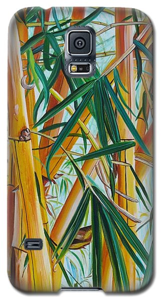 Galaxy S5 Case featuring the painting Yellow Bamboo by Marionette Taboniar