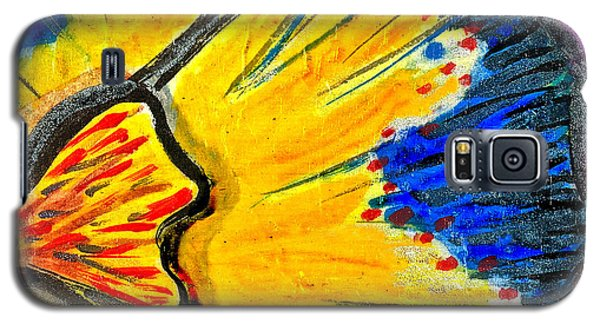 Galaxy S5 Case featuring the painting Yellow Blue Flower by Joan Reese