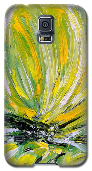 Galaxy S5 Case featuring the painting Yellow Butterfly by Jasna Dragun