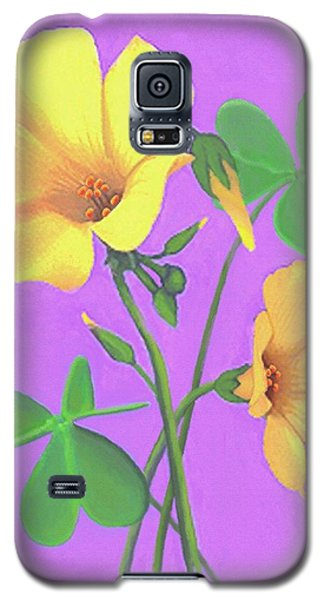 Galaxy S5 Case featuring the painting Yellow Clover Flowers by Sophia Schmierer