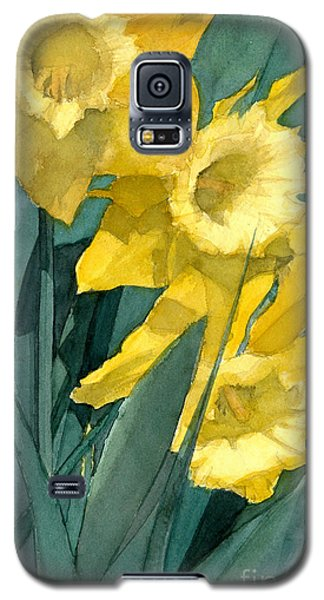 Watercolor Painting Of Blooming Yellow Daffodils Galaxy S5 Case