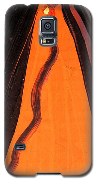 Galaxy S5 Case featuring the painting Yellow Eyed Serpent by Mary Carol Williams