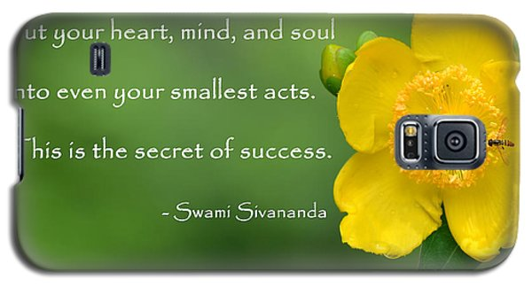 Yellow Flower With Success Quote Galaxy S5 Case