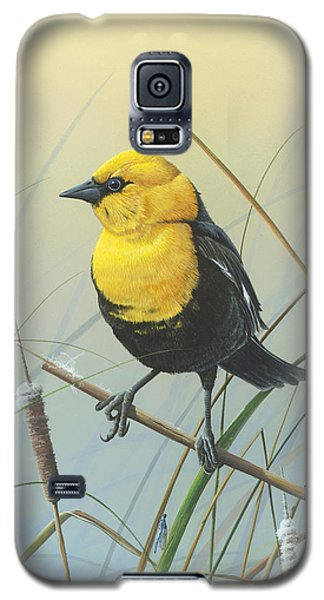 Galaxy S5 Case featuring the painting Yellow-headed Black Bird by Mike Brown
