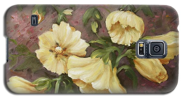 Galaxy S5 Case featuring the painting Yellow Holyhock by Marta Styk