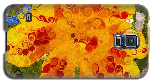 Yellow Lily With Streaks Of Red Abstract Painting Flower Art Galaxy S5 Case