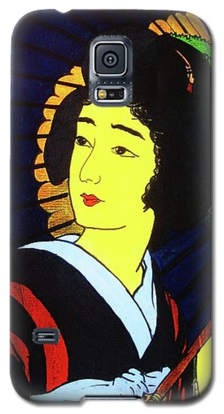 Galaxy S5 Case featuring the painting Yellow Moon Geisha by Roberto Prusso