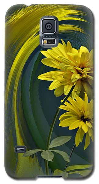 Galaxy S5 Case featuring the digital art Yellow Mum Fantasy by Judy  Johnson