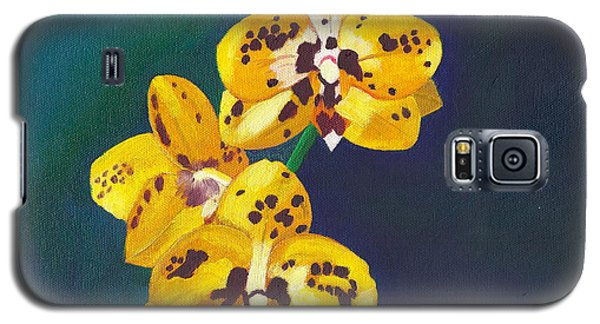 Galaxy S5 Case featuring the painting Yellow Orchids by Laura Forde