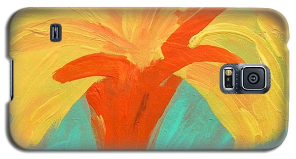 Galaxy S5 Case featuring the painting Yellow Palm by Mary Carol Williams