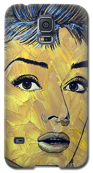 Galaxy S5 Case featuring the painting Yellow Pop Audrey by Malinda Prudhomme