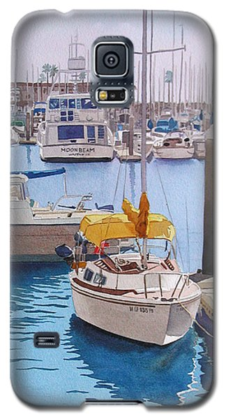 Boat Galaxy S5 Case - Yellow Sailboat Oceanside by Mary Helmreich