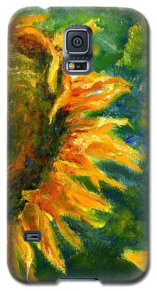 Yellow Sunflower Art In Blue And Green Galaxy S5 Case