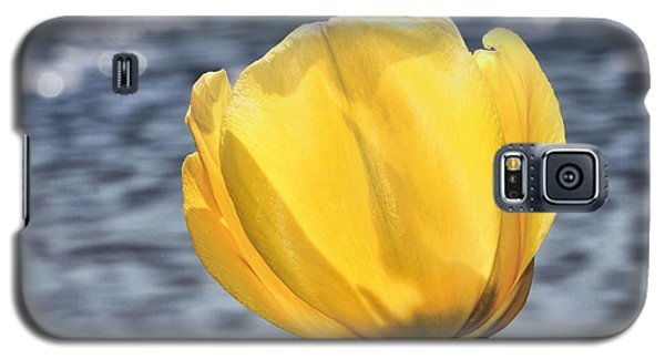 Galaxy S5 Case featuring the photograph Yellow Tulip Shimmering Water by Tracie Kaska