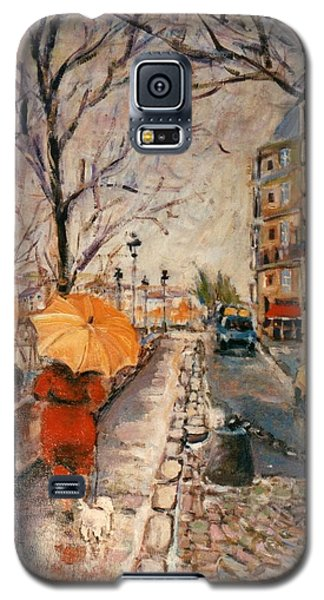 Galaxy S5 Case featuring the painting Yellow Umbrella by Walter Casaravilla