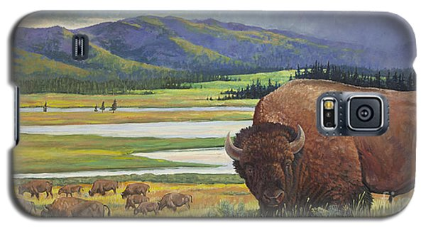 Galaxy S5 Case featuring the painting Yellowstone Bison by Rob Corsetti