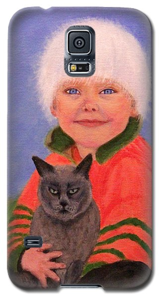 Galaxy S5 Case featuring the painting Young Boy And Geriatric Kitty by Janet Greer Sammons