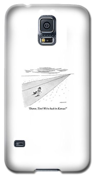 Wizard Galaxy S5 Case - Young Dorothy Stands With Little Dog On A Long by Mick Stevens