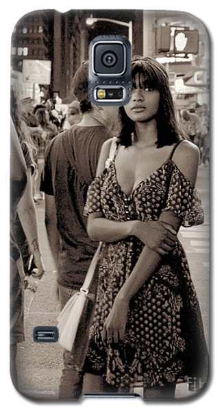 Girl With Red Dress - Times Square Galaxy S5 Case by Miriam Danar