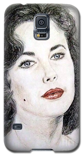Galaxy S5 Case featuring the drawing Young Liz Taylor Portrait by Jim Fitzpatrick