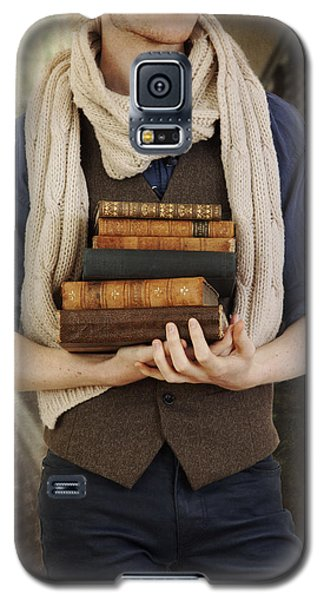Galaxy S5 Case featuring the photograph Young Man With Books by Ethiriel  Photography