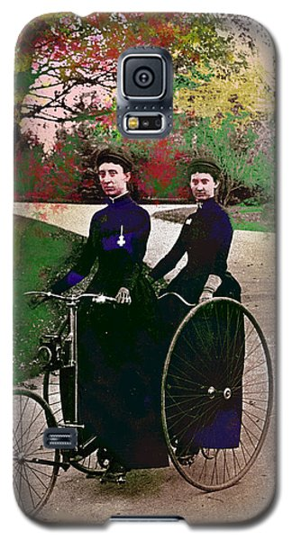 Galaxy S5 Case featuring the mixed media Young Women Biking by Charles Shoup