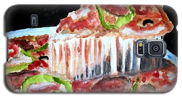 Galaxy S5 Case featuring the painting Yummy Pizza Pie by Carol Grimes
