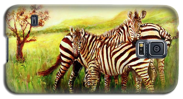 Galaxy S5 Case featuring the painting Zebras At Ngorongoro Crater by Sher Nasser