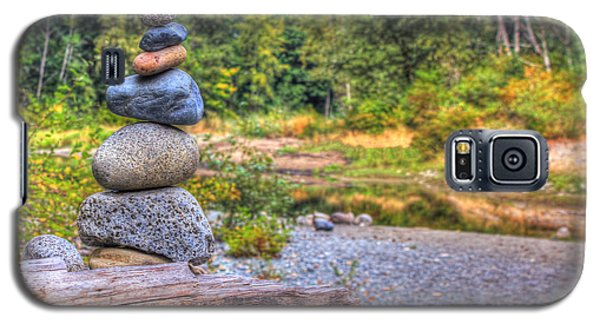 Galaxy S5 Case featuring the photograph Zen Balanced Stones On A Tree by Eti Reid