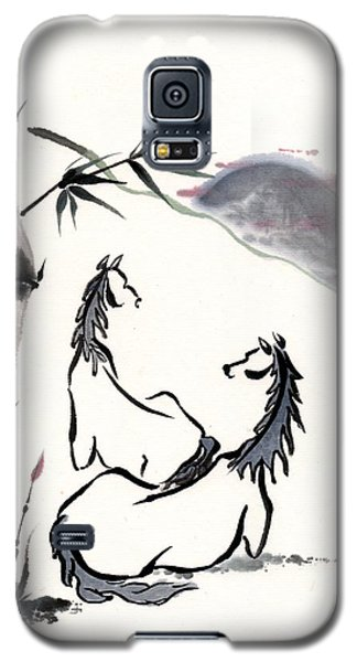 Galaxy S5 Case featuring the painting Zen Horses Evolution Of Consciousness by Bill Searle