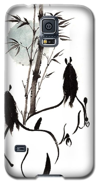Galaxy S5 Case featuring the painting Zen Horses Moon Reverence by Bill Searle