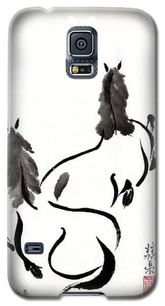Galaxy S5 Case featuring the painting Zen Horses Retired by Bill Searle