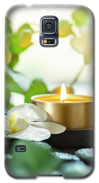 Orchid Galaxy S5 Case - Zen Orchid And Candle by #name?