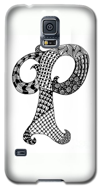 Letter P Monogram In Black And White Galaxy S5 Case by Nan Wright
