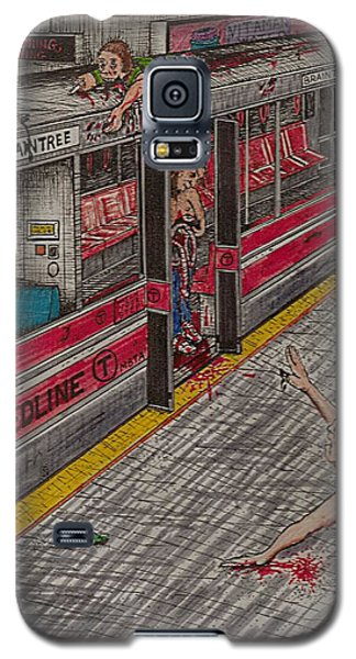 Galaxy S5 Case featuring the painting Zombies On The Red Line by Richie Montgomery