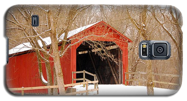 Galaxy S5 Case featuring the photograph  Sandy Creek Cover Bridge  by Peggy Franz