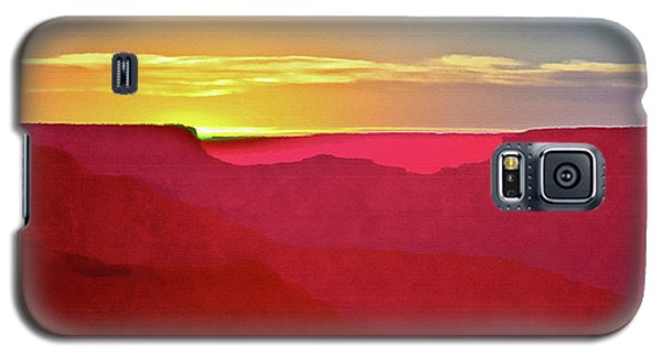 Galaxy S5 Case featuring the painting   Sunset At Grand Canyon Desert View by Bob and Nadine Johnston