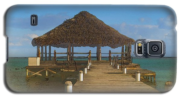 Beach Deck With Palapa Floating In The Water Galaxy S5 Case