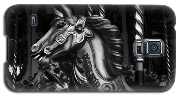 Galaxy S5 Case featuring the photograph Carousel Horses Mono by Steve Purnell