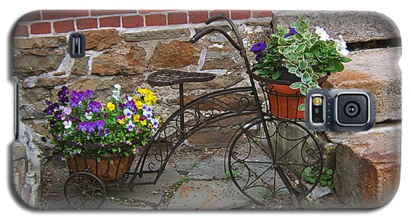 Flower Bicycle Basket Galaxy S5 Case by Val Miller