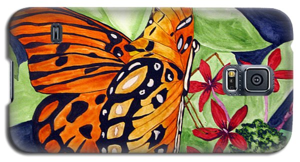 Galaxy S5 Case featuring the painting Precocious Butterfly by Debi Singer