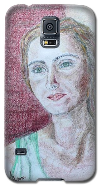 Galaxy S5 Case featuring the drawing Self Portrait by Anna Ruzsan