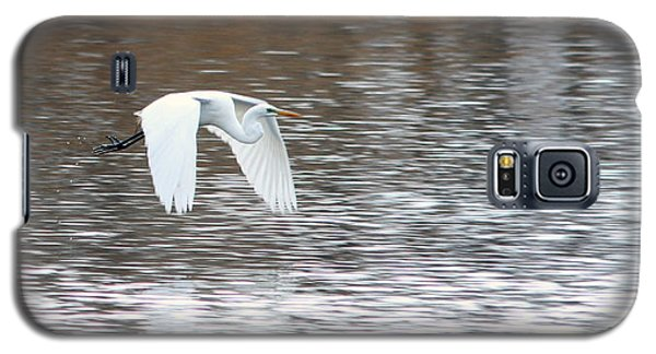 Galaxy S5 Case featuring the photograph Snowy Egret Flight by Mark J Seefeldt