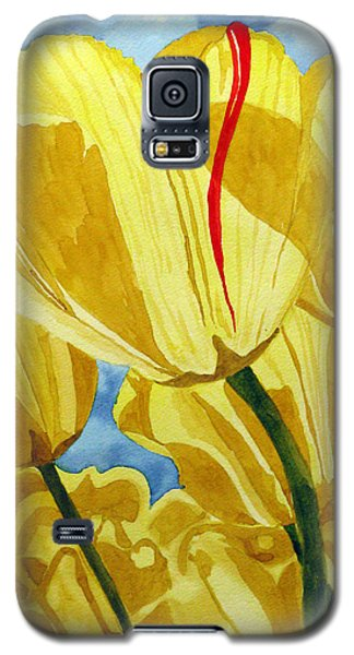 Galaxy S5 Case featuring the painting Tender Tulips by Debi Singer