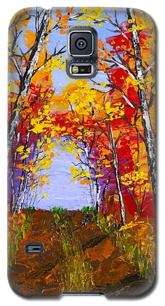 White Birch Tree Abstract Painting In Autumn Galaxy S5 Case by Keith Webber Jr