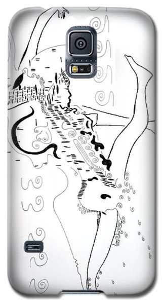 Galaxy S5 Case featuring the drawing Zulu Dance - South Africa by Gloria Ssali