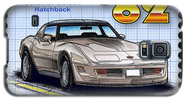 Galaxy S5 Case featuring the drawing 1982 Collector Edition Hatchback Corvette by K Scott Teeters