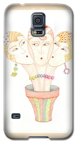 Galaxy S5 Case featuring the painting Flower Pot Ladies by Nareeta Martin