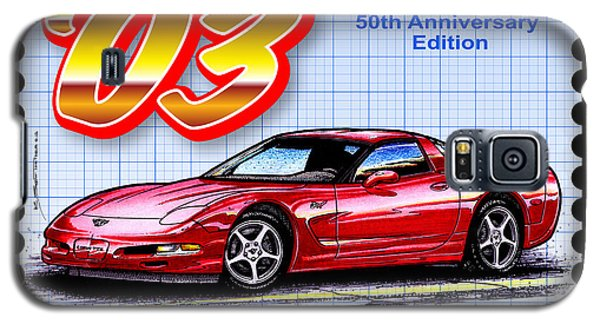 Galaxy S5 Case featuring the drawing 2003 50th Anniversary Edition Corvette by K Scott Teeters