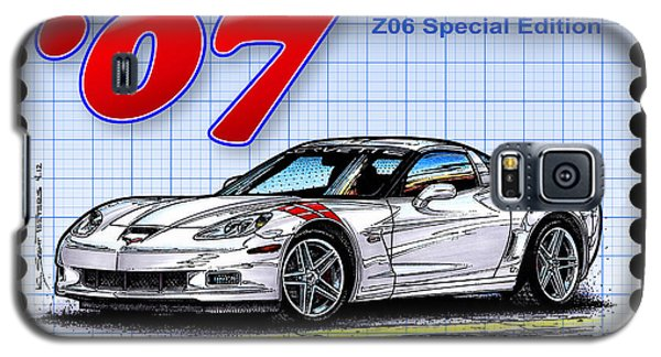 Galaxy S5 Case featuring the drawing 2007 Ron Fellows Z06 Special Edition Corvette by K Scott Teeters